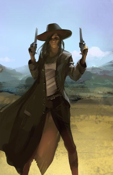 cowgirl duster pistols revolver badass desert wild west hat