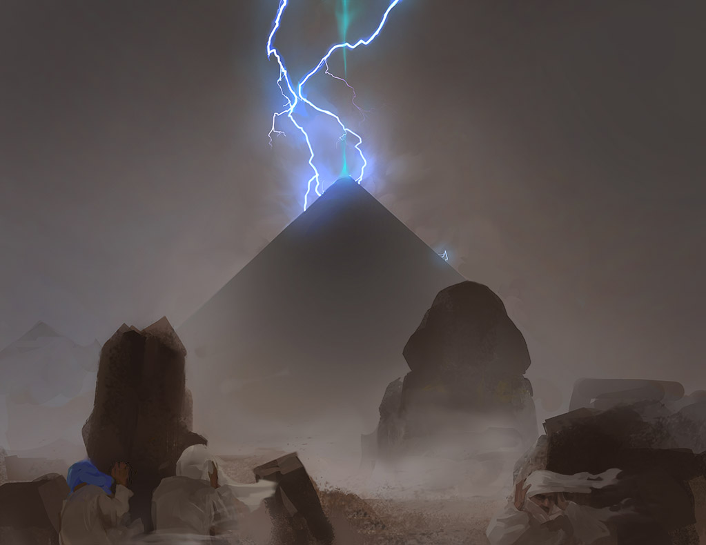 pyramid night supernatural storm sand wind lightning ruins scary