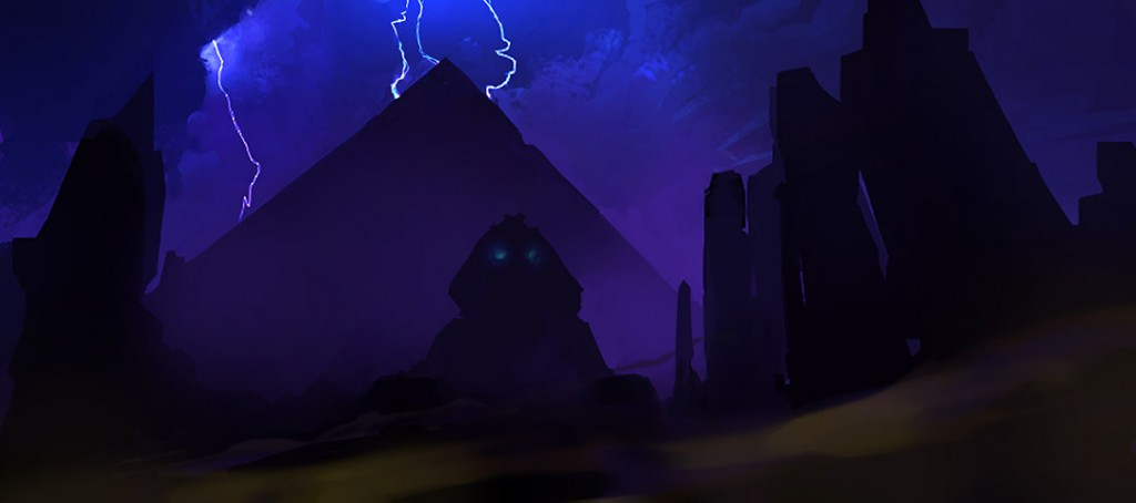 pyramid sphinx night supernatural storm sand wind lightning glowing eyes ruins scary
