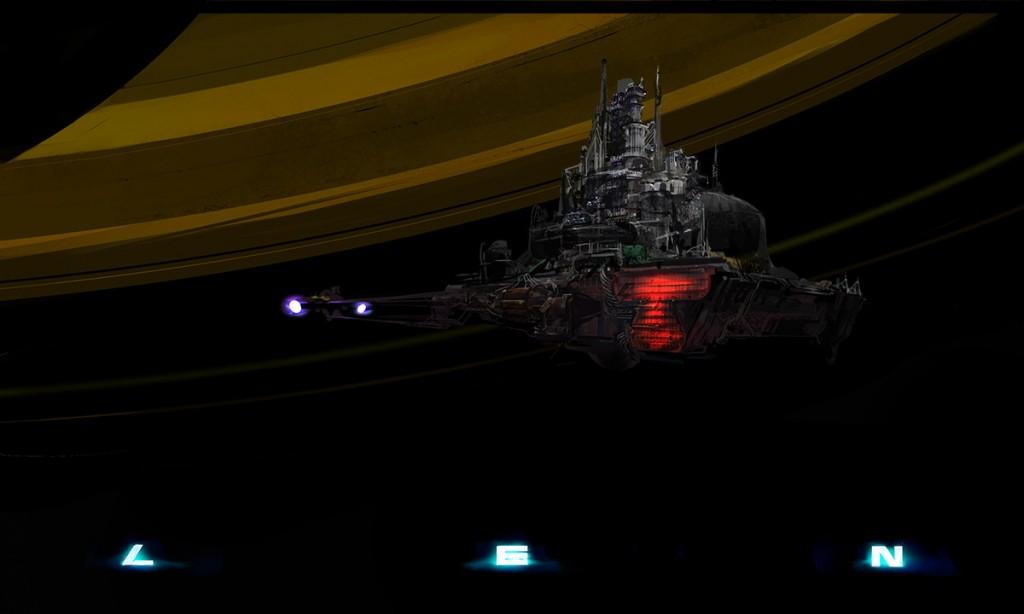 len alien concept nostromo space ship tug rig saturn rings space planet scary deep dark